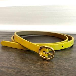 🔴 J Crew Factory Mustard Yellow Skinny Belt - S